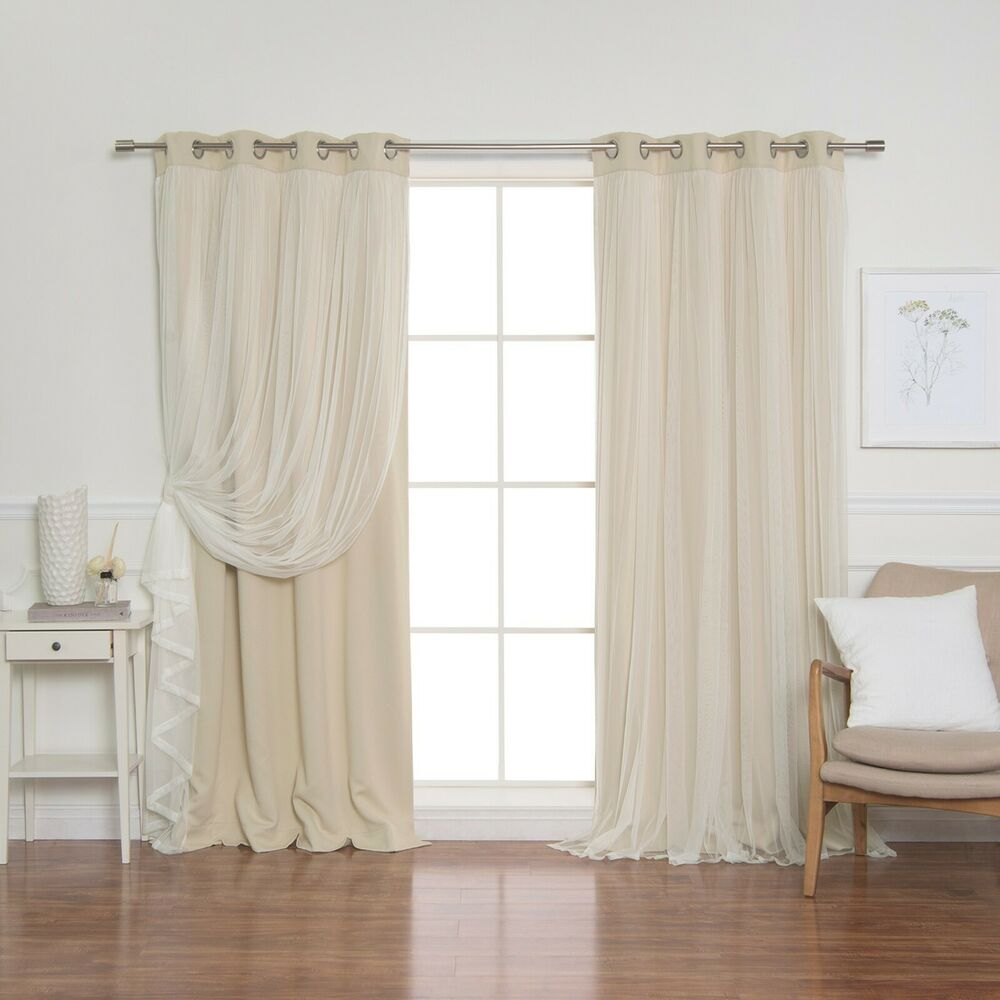 Tulle Lace Overlay Blackout Curtain Set