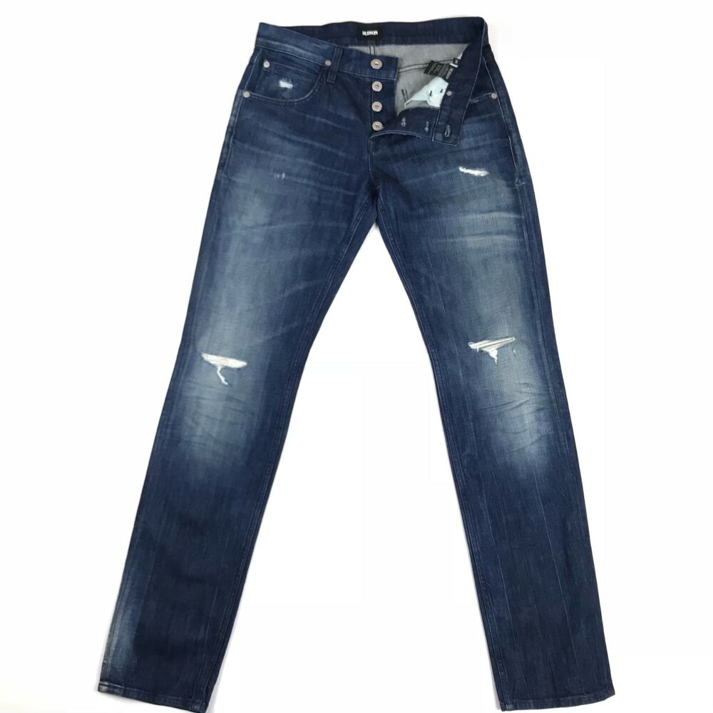 fd1c7df65bf Details about Hudson Mens Jeans Blake Slim Straight Destroyed Wash Vicious  Size 30x33 USA