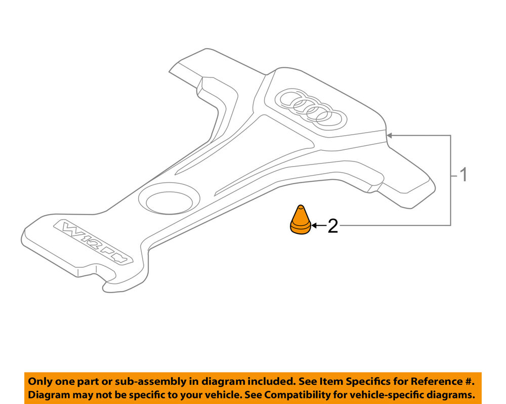 details about audi oem 12-16 a8 quattro engine appearance cover-cover  grommet 07c133588g