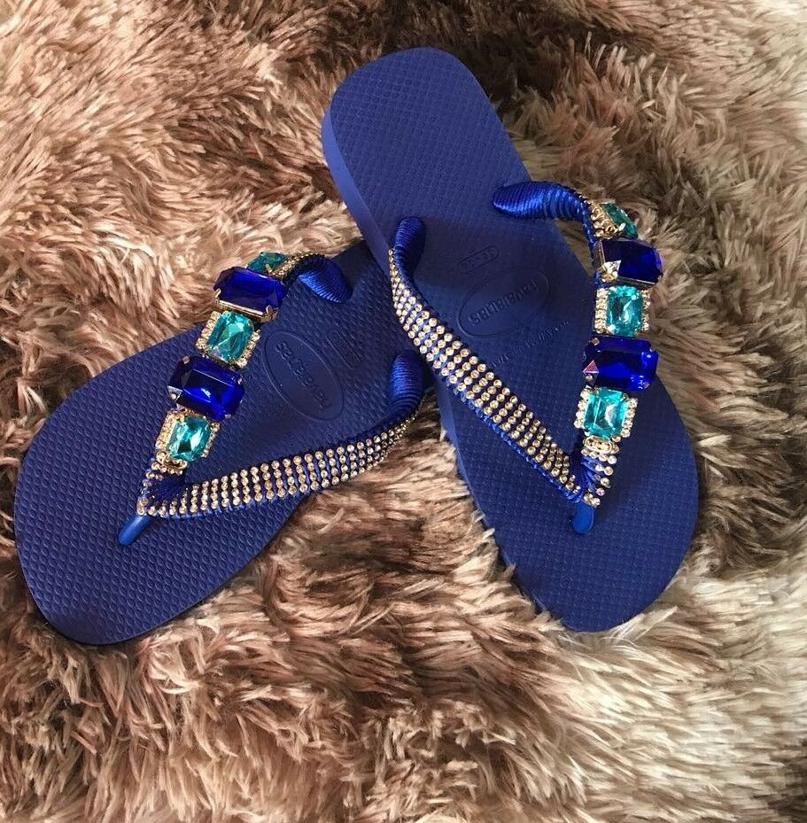 22c9f871a8f3 Details about Women s Havaianas Flip Flops customized hand made UK size 4