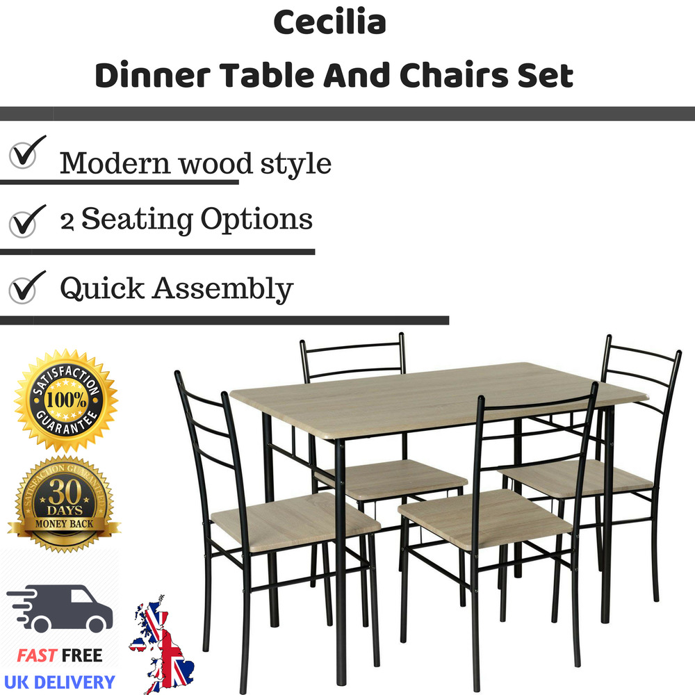 d83023585752e Details about Cecilia 5 Piece Dinner Table and Chairs Set Modern Dining