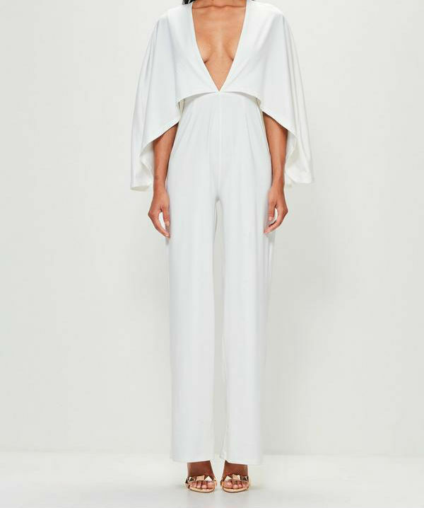 3d0c4c7effb MISSGUIDED peace + love White Jersey Cape Plunge Jumpsuit RRP £80 (M3 31)