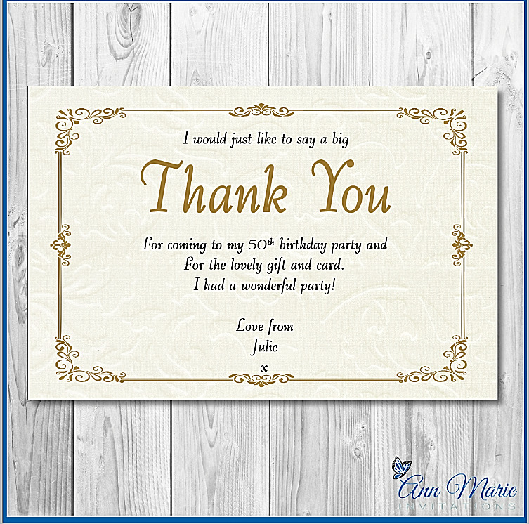 10 X PERSONALISED GOLD BIRTHDAY THANK YOU CARD ANY AGE