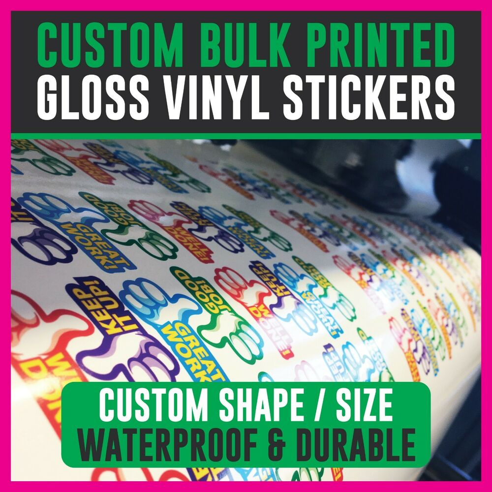 Bulk printed custom stickers gloss vinyl personalised sticker logo shop decals ebay