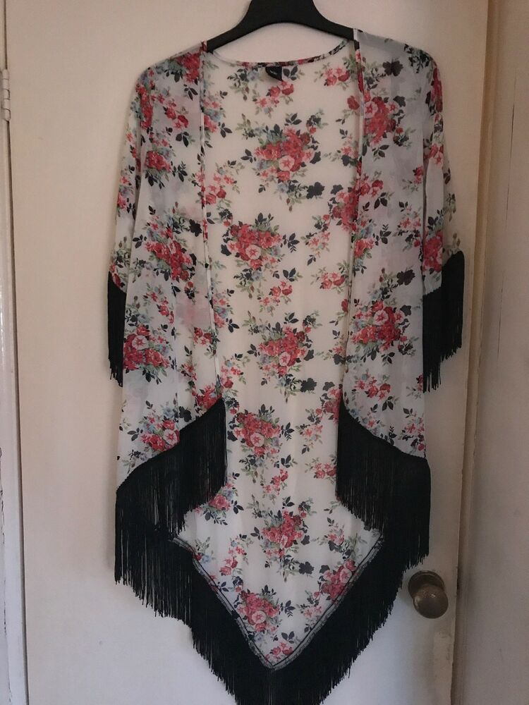 cd413756619 LOVE Sheer White Black Red Floral Jacket Cardigan Top with Fringe Tassels  size S