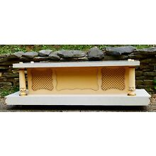 MID-CENTURY CASKET COFFIN BIER~STAND~FUNERAL~GOLD FLAKE FORMICA, CLASSIC MCM