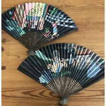 2 Antique Chinese Hand Painted Fan Fans W/ Poems Art