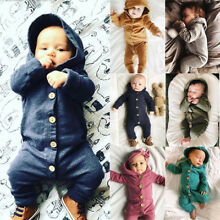 US Xmas Autumn Infant Baby Boy Girl Cotton Hooded Romper Jumpsuit Clothes Outfit