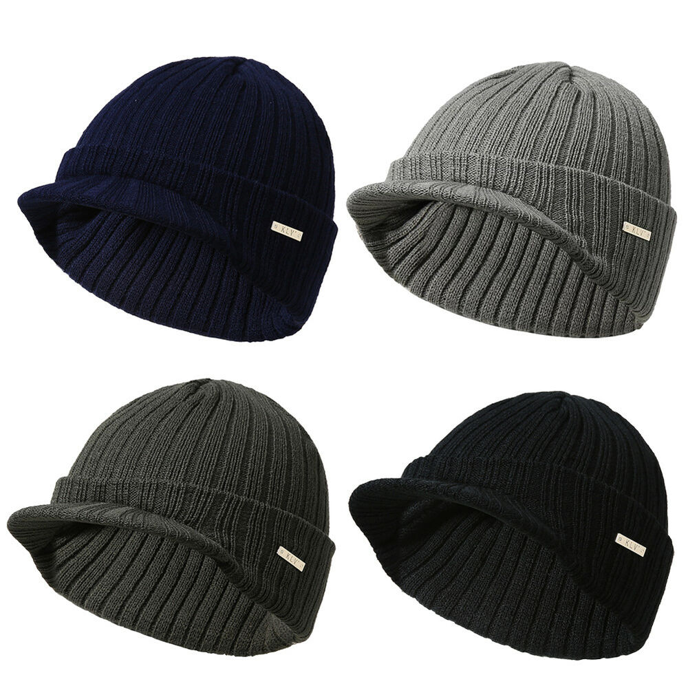 Details about Mens Womens Winter Warm Knit Hat Ski Visor Fleece Outdoor Beanie  Brim Cap US f5fa9718b39