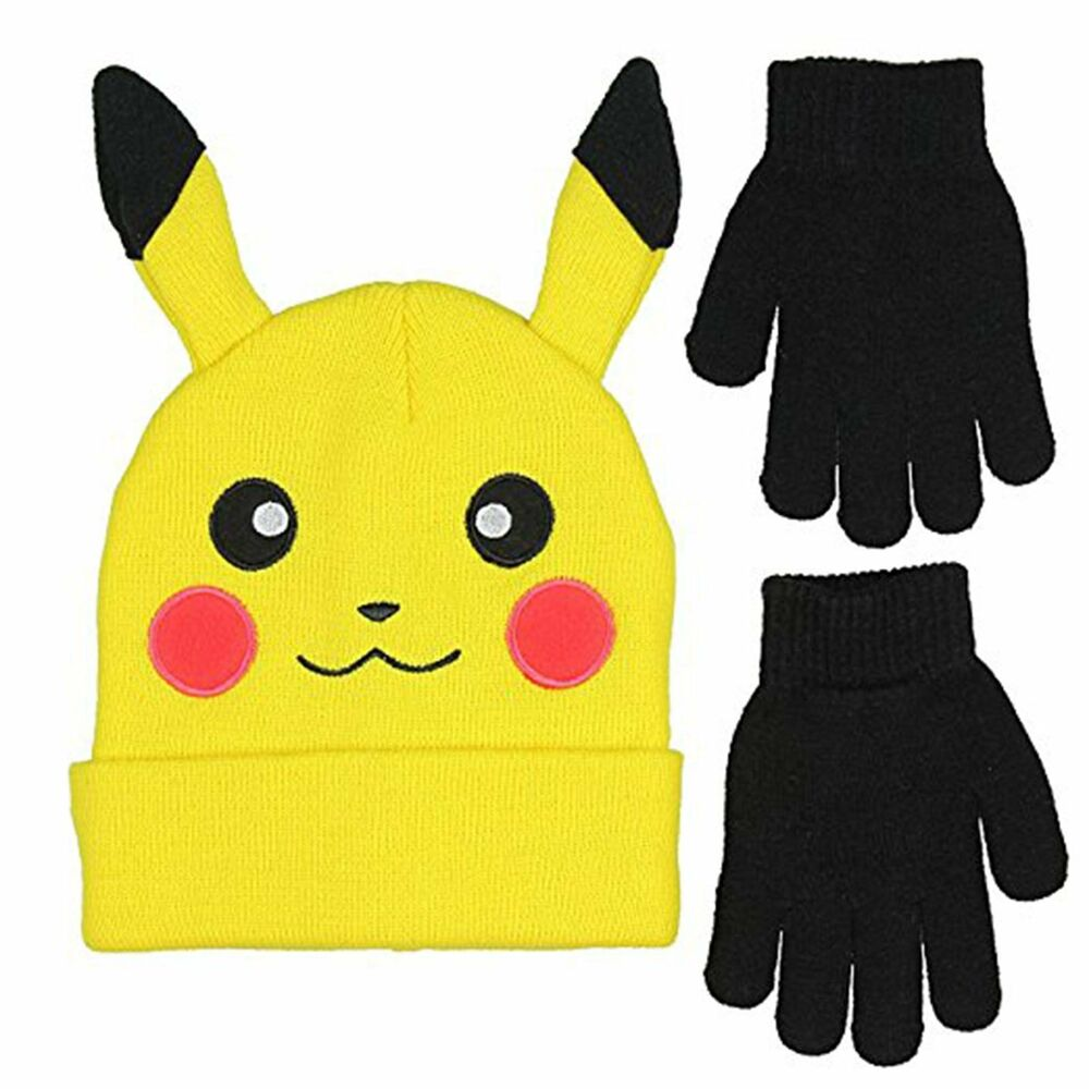 Details about NEW w Tags Pokemon Pikachu Winter Beanie Hat and Gloves Set -  FREE Shipping! cb4134237bb