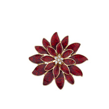 Lux Accessories Christmas Xmas Holiday Red Gold tone Glitter Brooch Pin