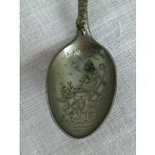 Antique Silver Spoon Merry Xmas Christmas Happy New Year Patent 1899 4 1/4