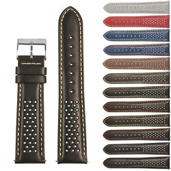 StrapsCo Perforated Leather Rally Watch Band - Quick Release Strap
