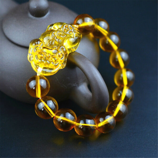 Feng Shui Citrine Gem Stone Wealth Pi Xiu Bracelet Attract Wealth and Good Luck