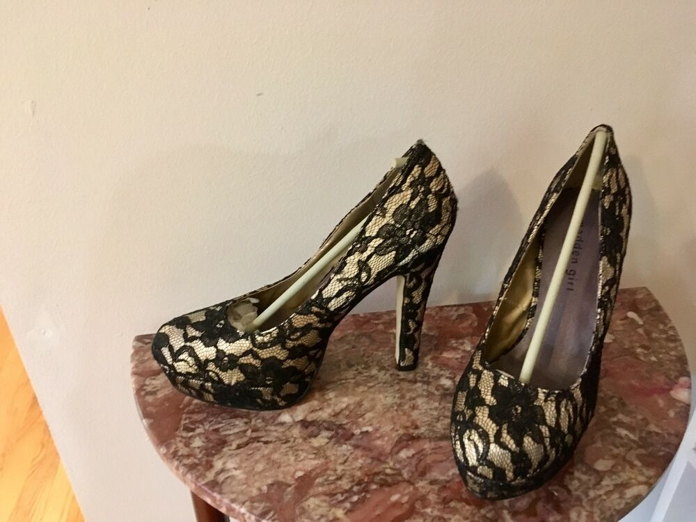 301a620956f Details about Madden Girl Black Lace Heels  Never Worn 9.5M
