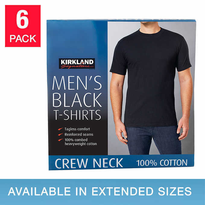 e452f1259155d Details about Kirkland Men s 6-pack Black 100% Cotton Crew Neck T-shirt