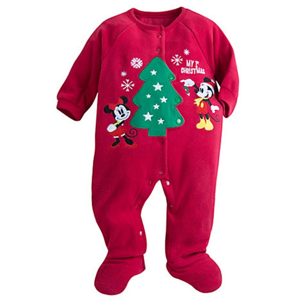 afbf837b6 Details about Disney Store Mickey Minnie Mouse My 1st Christmas Sleeper Baby  Holiday Outfit
