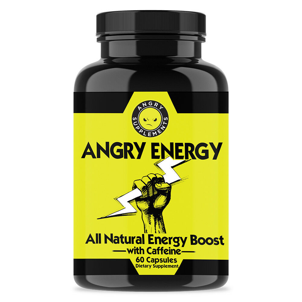 Caffeine Angry Energy Pills 60ct All Natural Energy