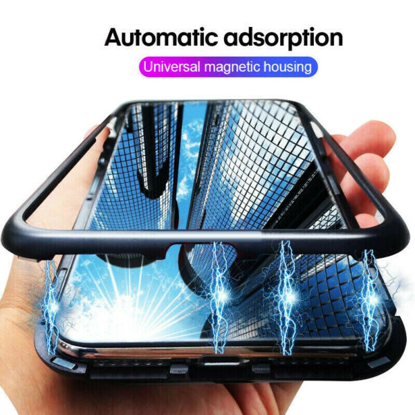 For Xiaomi Redmi Note 8 7 Mi 9 K20 Magnetic Adsorption Metal Tempered Glass Case