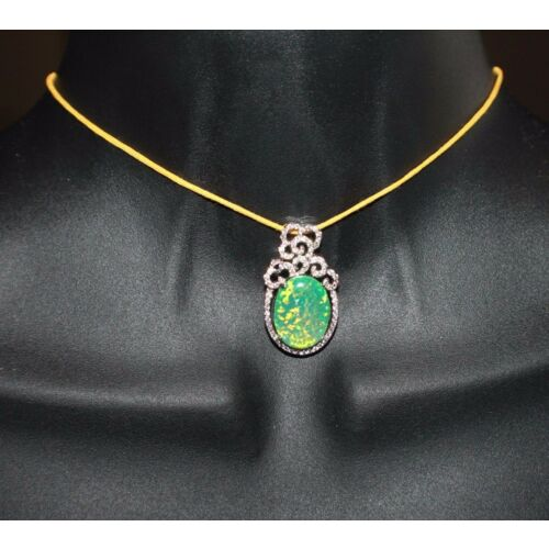 green-fire-opal-cz-necklace-pendant-gemstone-silver-jewelry-classic-cocktail-g43