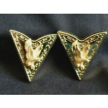Vintange Western Metal Collar Tips   Gold Tone with Flying Eagles