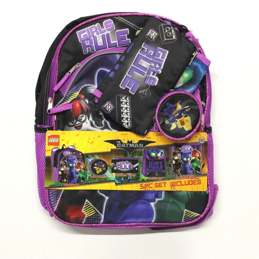 f72c317707 Details about Girl's 4-16 Lego Batman 5-Piece Backpack, Lunch Box &  Accessories Set