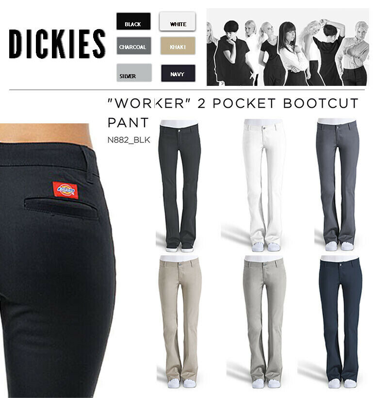 DICKIES GIRLS SLIM FIT BOOTS CUT PANTS N882 WORKER WOMEN BLACK KHAKI NAVY  0ca9d7f49a