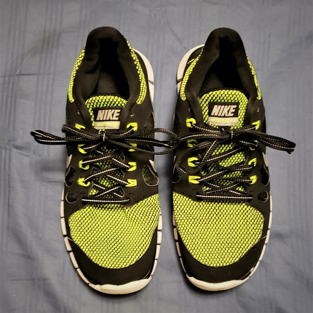 hot sale online f3e3f 21170 Details about BOY S 2013 NIKE FREE 5.0 LE (GS)  631567-001 Black Green  Running Shoes Size 7Y