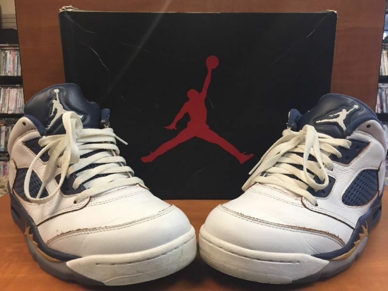 80b0293d0 Details about Nike Air Jordan 5 V Retro Low Dunk From Above White Gold Navy  819171-135 Size 10