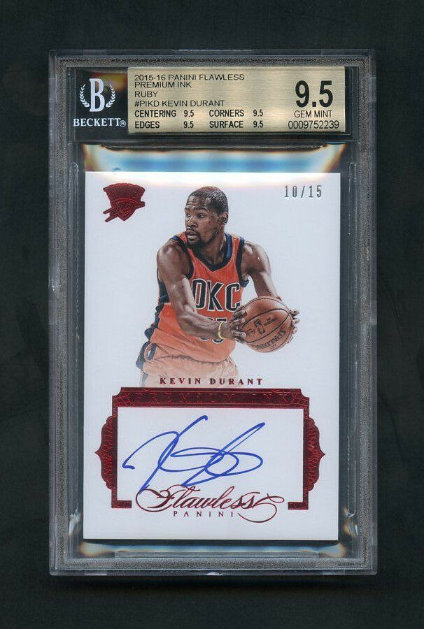 ed1dff0ca6c Details about 2015-16 Kevin Durant Panini Flawless Premium Ink Ruby On-Card  Auto  15 BGS 9.5