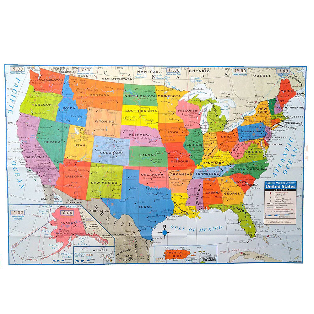 Usa Map Poster Size Wall Decoration Large Map Of United