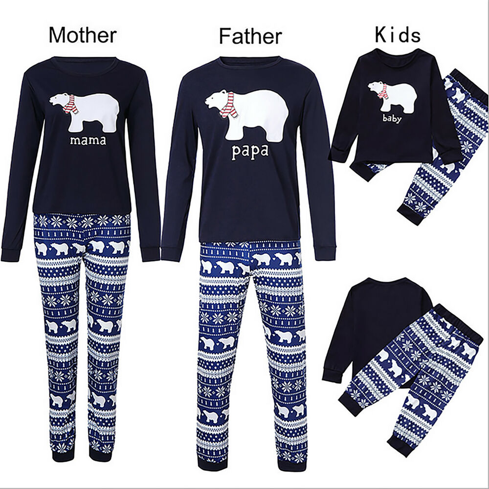 187dd56db0 Details about Family Matching Christmas Pajamas Polar Bear Kids Adult Xmas  Sleepwear Set US