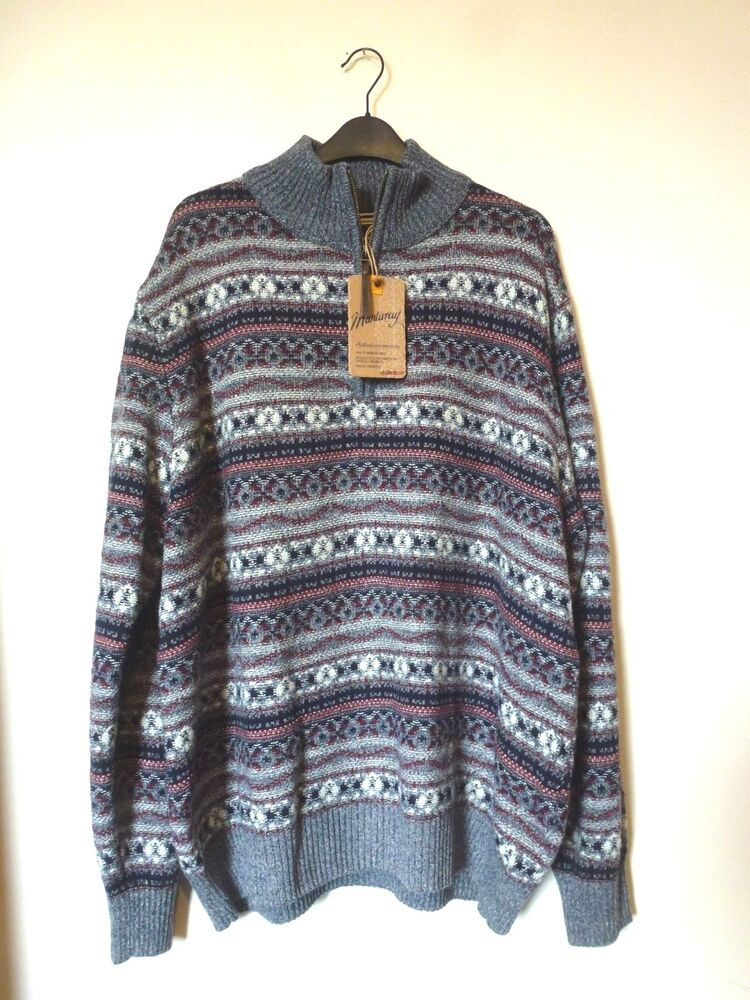 07be7b841a3abb Details about Mantaray Mens 1 4 Zip Funnel Neck Patterned Jumper Size XXL  BNWT RRP £60 Blue
