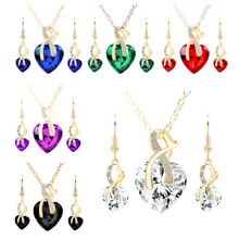 Women Gold Plated Heart Crystal Jewelry Sets Wedding Necklace Earring sets US