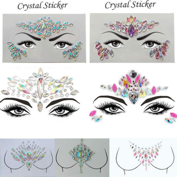 Tatouage Temporaire Visage Gems Bijoux Strass Festival body glitter stickers