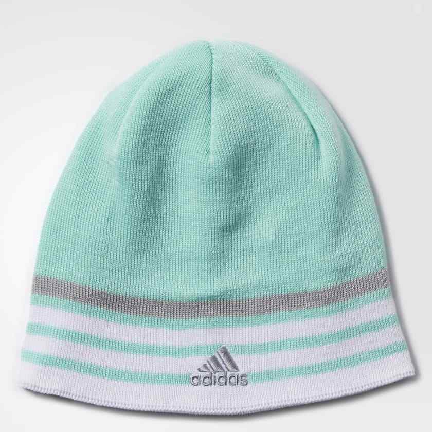 Details about NEW ADIDAS Beanie HAT Young Women Youth Reversible Climawarm  Eclipse Green Gray 752ec134e6e3