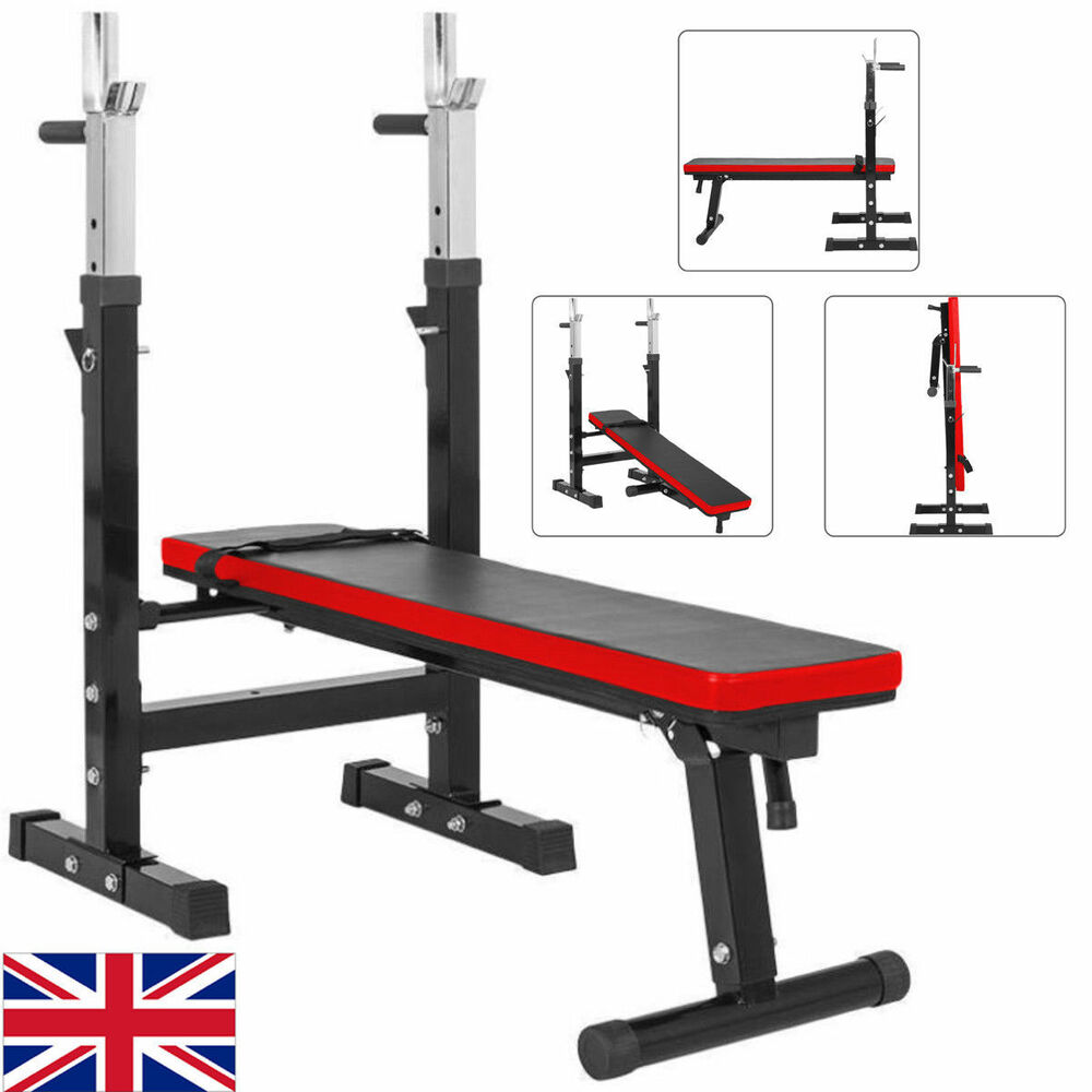 Adjustable Folding Weight Bench Barbell Dip Station Flat ...