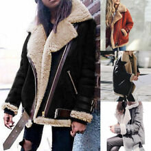 Fashion Womens Fleece Lined Biker Aviator Jacket Coat Winter Warm Lapel Outwear