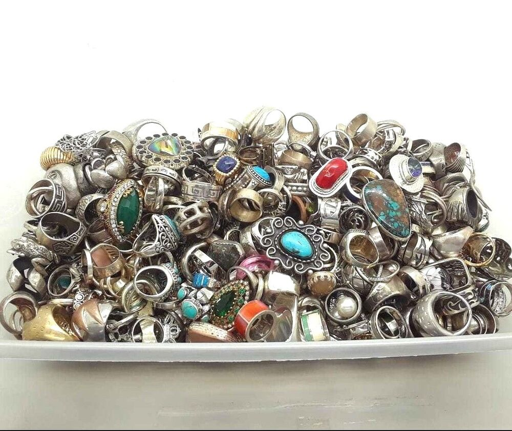100 GRAM ASSORTED STERLING SILVER 925 RING LOT WHOLESALE ...