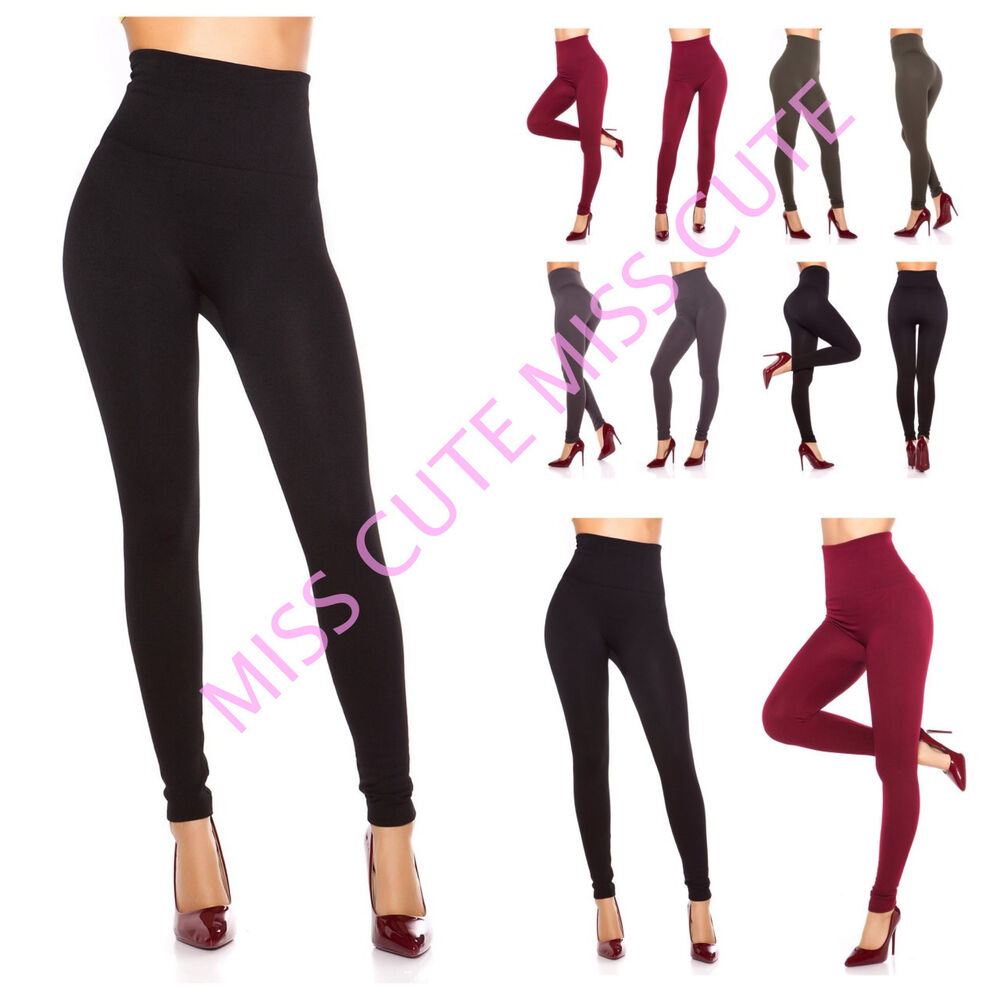 e98a784ec9d2f Details about WOMENS LADIES HIGH WAIST WINTER SHAPE THERMAL LEGGINGS FLEECE  LINED STRETCH 8-16