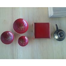 Mini lacquered wooden japanese tea set