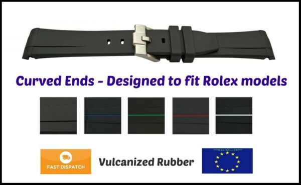 Curved Ends Replacement Rubber Strap SS buckle fit Rolex Submariner Datejust GMT