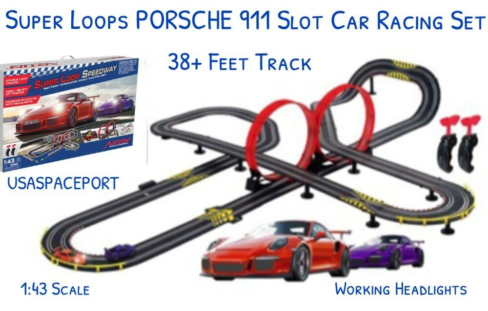 Details About Super Loops Electric Road Racing Set 34 Ft Race Track 2 Slot Cars 1 43