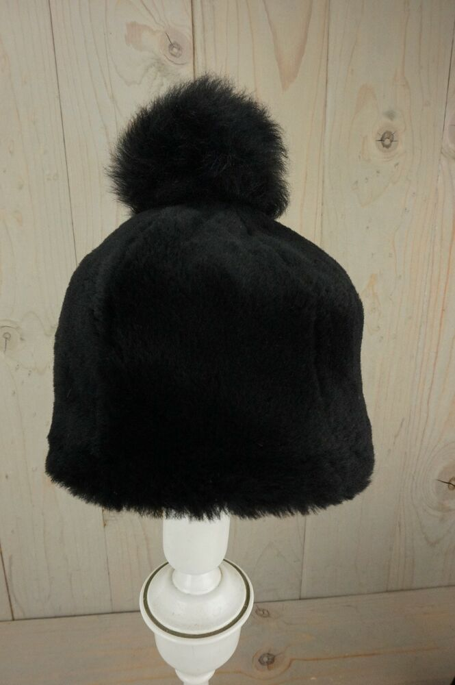 2ad16789 Details about UGG EXPOSED FUR SHEEPSKIN BEANIE WITH POM HAT BLACK SIZE  LARGE XL NWT