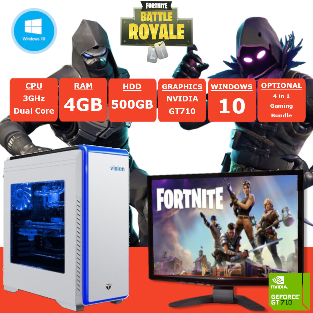 details about fast dual core fortnite gaming pc monitor 4gb ram 500gb hdd windows 10 - gtx 710 fortnite
