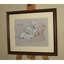 DAVID THOMPSON Limited Edition Print West Highland Terrier Dogs on Sofa *REDUCED