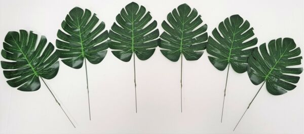 Set of 6 Artificial Split Philo Leaves - 36cm - Tropical Leaf Green Philodendron