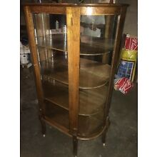 Real Nice Solid Oak Curved Glass Antique China Cabinet With Mirrored Back.