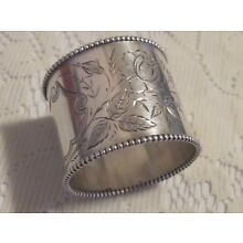Antique Victorian Sterling Silver Napkin Ring Etched Floral R M Co