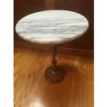 Vintage Filigree BRASS Pedestal Plant Stand Side Lamp Candle MARBLE Table Top